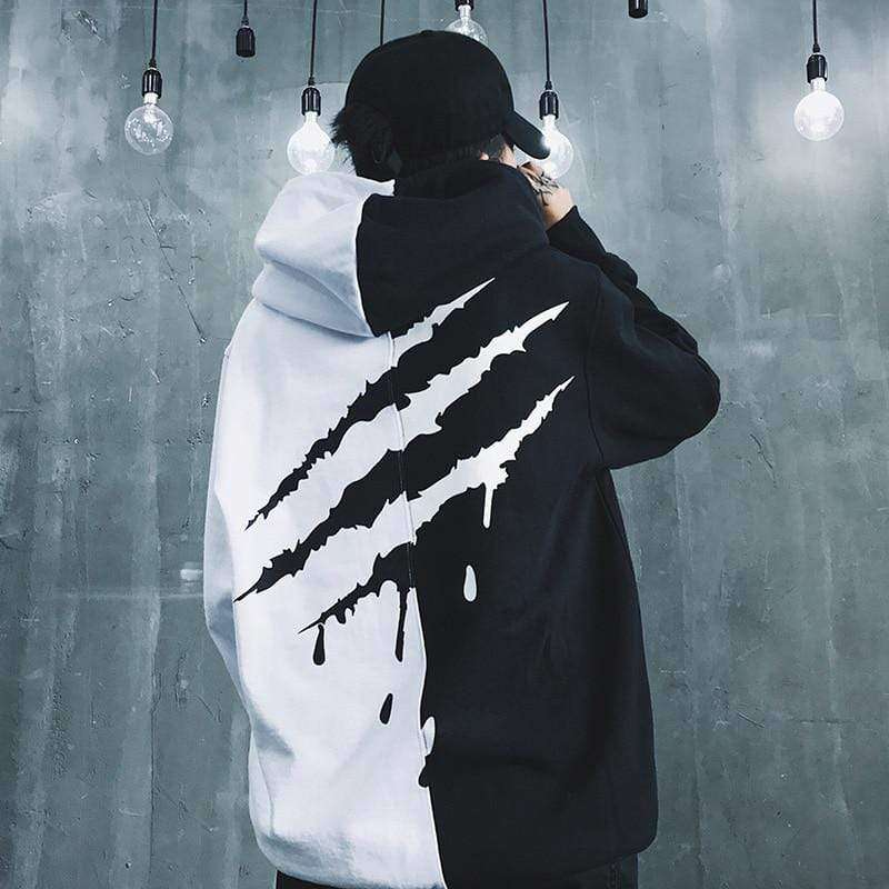 Black White  ultra-soft hooded sweatshirt features striped ribbing,  Legendary Softness. - HypeLooks