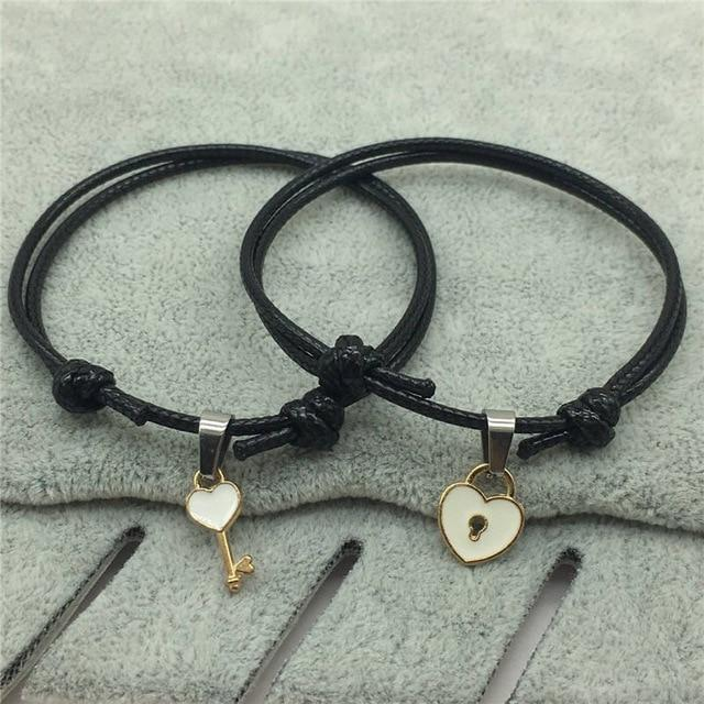 Couple Bracelet Alloy key Heart Lock Charm, Perfect choice for Christmas Gift, - HypeLooks