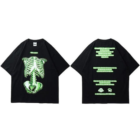 Creepy Skeleton, Creepy Skeleton Short Sleeve T-shirt skeletal structure in bright color - HypeLooks