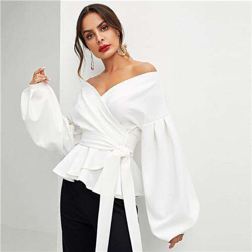 Elegant Lantern Women Wrap Front V Neck Blouse Lantern Long Sleeve Loose Pullover Shirt Tops - HypeLooks