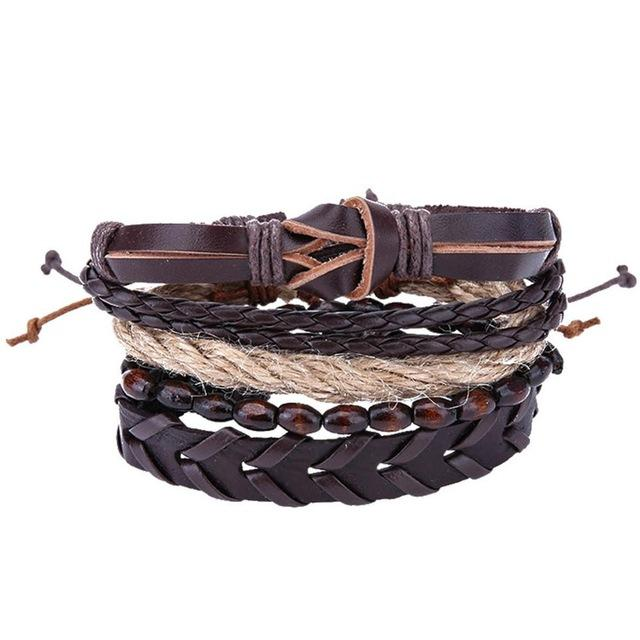 Genuine Leather Bracelet for Women & Men,Unisex Multilayer Leather Adjustable Bracelet Cuff Wrap Multicolor Rope Wristband - HypeLooks
