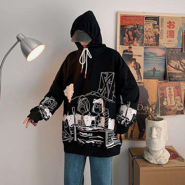 Unisex Letter Printed Hoodies Cool Hip Hop Long Sleeve Sweater Pullover Hooded Sweatshirt - HypeLooks