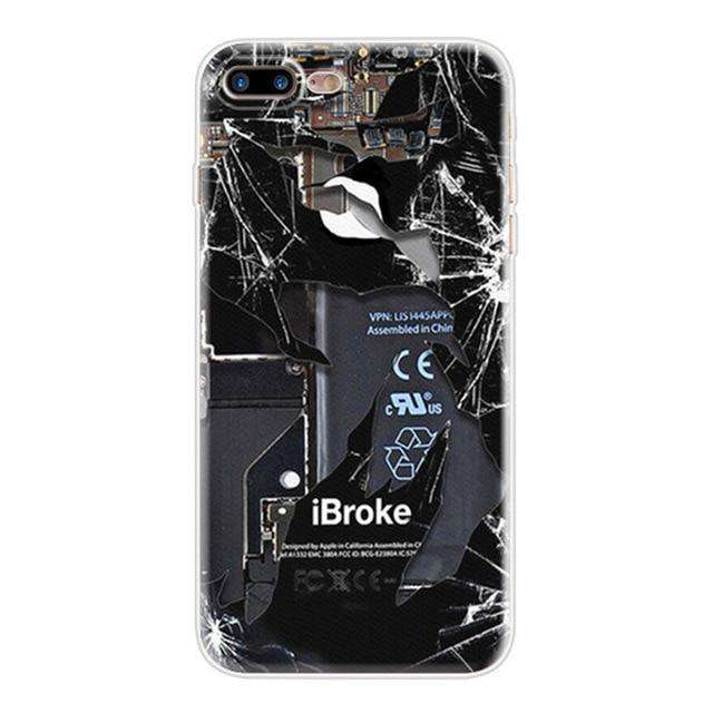 I broke for iPhone  Black i Broke Screen Image Slim Fit Gel Back Cases Cover Protector - HypeLooks