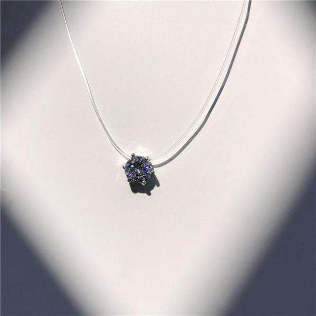 Invisible Chain Necklaces Transparent Clear Invisible Chain Crystal String Cord Rhinestone  Pendant Necklace - HypeLooks
