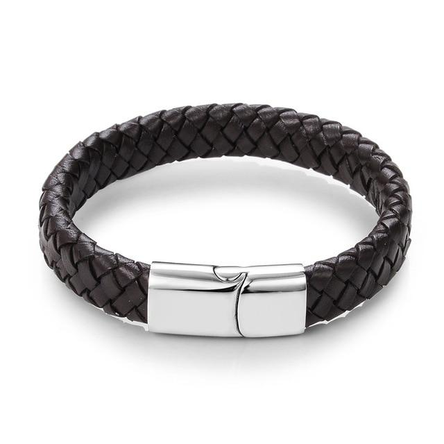 Jiayiqi Punk Braided Leather Bracelets for Men with Magnetic Clasp Cowhide Braided Leather Bracelet - HypeLooks