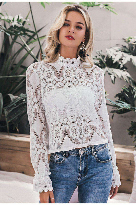 lace blouse Women sexy see through hollow out floral long sleeve lace embroidery lady crop blouse & top - HypeLooks