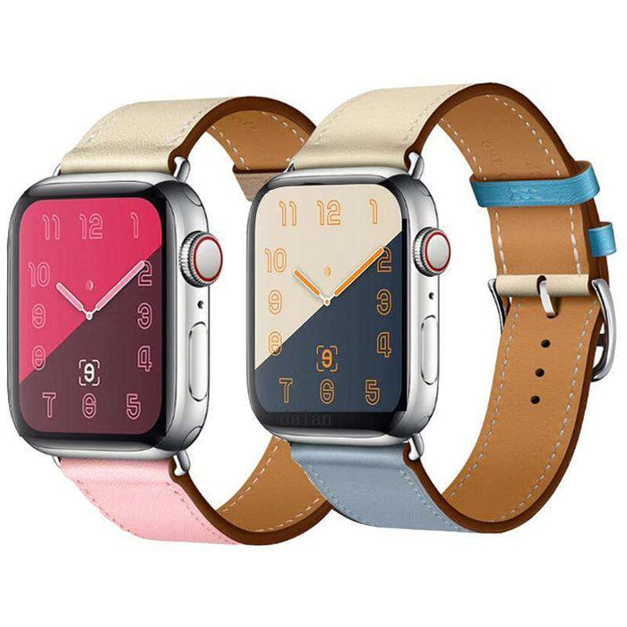Leather loop strap For apple watch band 44mm 40mm Replacement iWatch series 5 4 3 2 1 watchbands bracelet 42mm 38mm Wristbands - HypeLooks