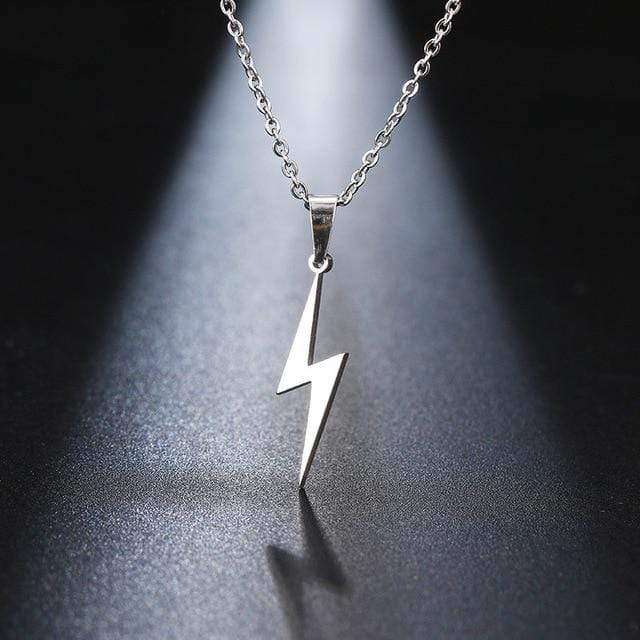 "Lightning Necklaces  Sterling Silver Thunderstorm Lightning Bolt Strike Pendant on 16, 18 or 20"" Silver Curb Chain - HypeLooks"