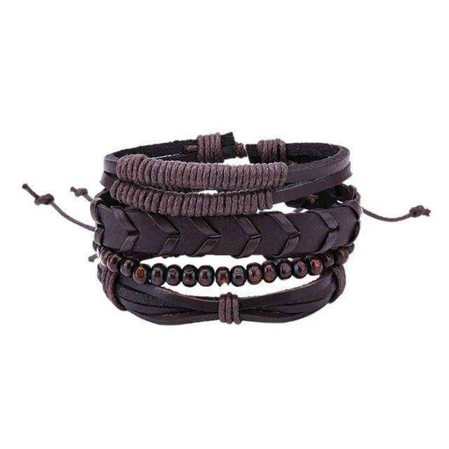 Leather Bracelets Men Women, Hemp Cords Wood Beads  Bracelets, Leather Wristbands - HypeLooks