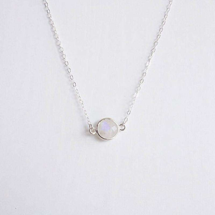 Moonstone Choker Necklace Fashion Rose Gold/Silver Color Stone Crystal Pendant Necklace Women Jewelry - HypeLooks