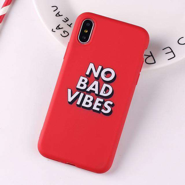 No Bad Vibes Plastic Phone Snap On Back Case Cover Shell Compatible with iPhone 7 & iPhone 8 & iPhone - HypeLooks