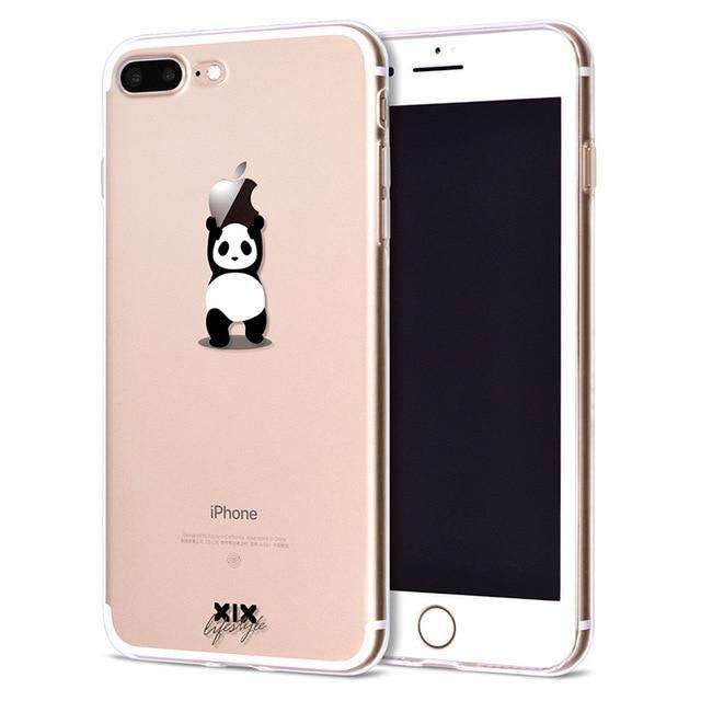Cute 3D PaPa Panda Case For iPhone 11 Pro Max XS Max XR XS 6 6S 7 8 Plus X Candy Color Soft TPU Phone Back Cover Gift - HypeLooks