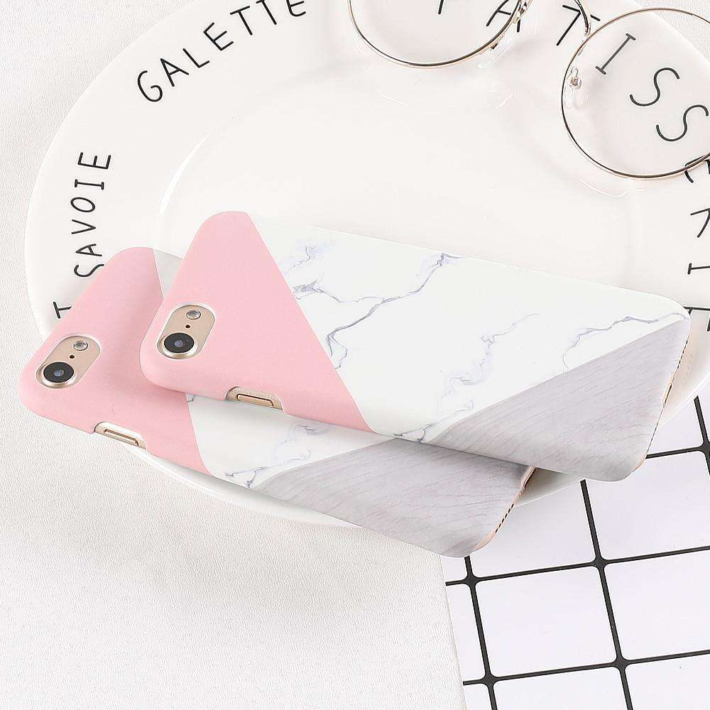 Marble Case For iphone 11 Pro Max 6 6S 7 8 Plus X XS XR Back Cover Retro Blue Pink Splice Art Stone Phone Coque - HypeLooks