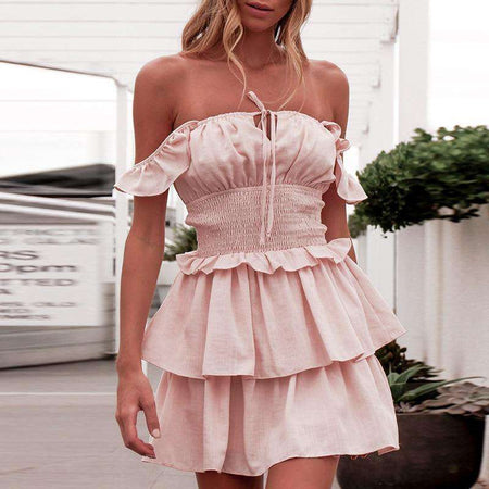 Women's Summer Sleeveless Strapless Ruffle Off The Shoulder Swing Cocktail Party Dress - HypeLooks