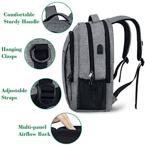 Laptop Backpack Water Resistant Anti Theft Durable Casual Large Computer Backpack Business Bag Diaper Bag College Bag for Women and Men Travel Backpack with USB Charging Port