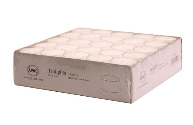 8 Hour Clear Tealights - Box of 50 Tea Lights Bolsius