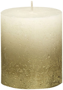 Rustic Pillar Candles - Fading Ivory - Gold