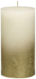 Rustic Pillar Candles - Fading Ivory - Gold Medium