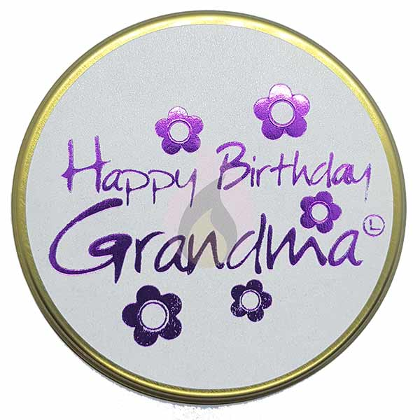 Lily Flame Happy Birthday Grandma Candle Tin