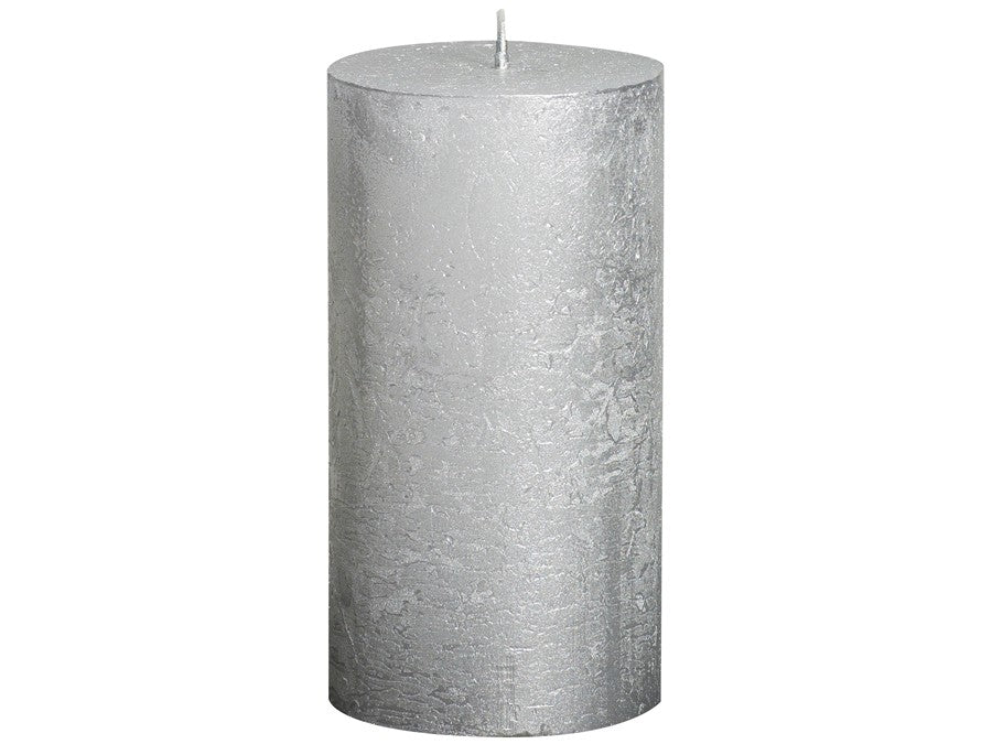 Rustic Pillar Candles - Silver - Candle With Care