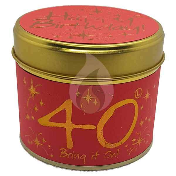 Lily Flame Happy Birthday 40 Candle Tin Candle Tin Lily Flame