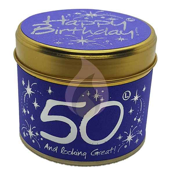 Lily Flame Happy Birthday 50 Candle Tin Candle Tin Lily Flame