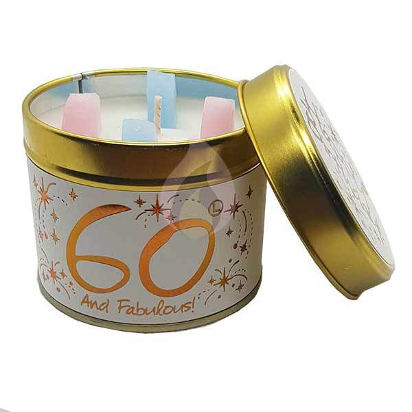 Lily Flame Happy Birthday 60 Candle Tin Candle Tin Lily Flame