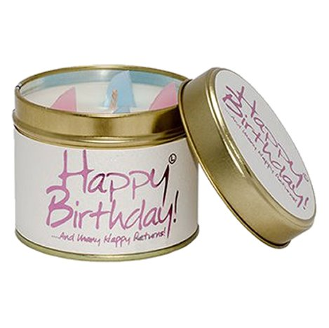 Lily Flame Happy Birthday Candle Tin Candle Tin Lily Flame