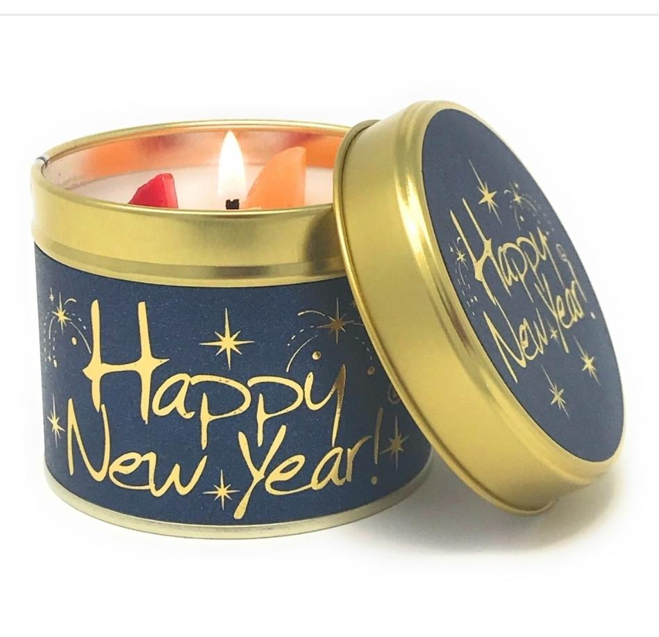 Lily Flame Happy New Year Candle Tin Candle Tin Lily Flame