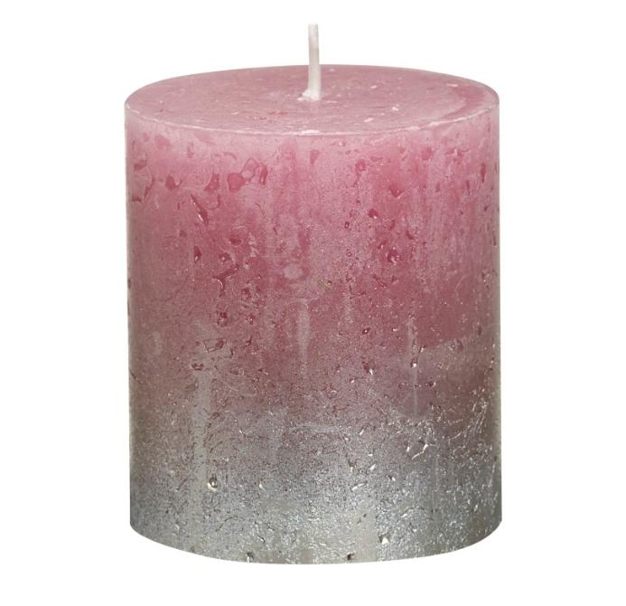 Rustic Pillar Candles - Fading Old Pink Rustic Pillar Bolsius Small 80x68mm