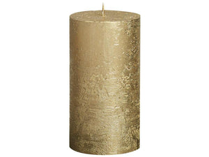 Rustic Pillar Candles - Gold Rustic Pillar Bolsius Medium 130x68mm