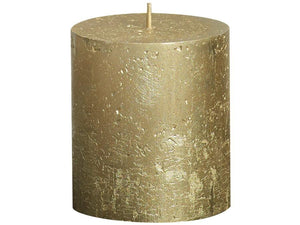 Rustic Pillar Candles - Gold Rustic Pillar Bolsius Small 80x68mm