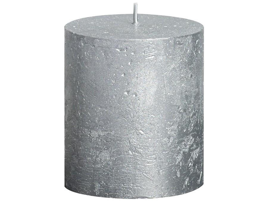 Rustic Pillar Candles - Silver Rustic Pillar Bolsius Small 80x68mm