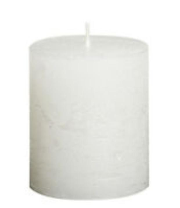 Rustic Pillar Candles - White Metallic Rustic Pillar Bolsius Small 80x68mm