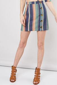 Denim Multi Stripe Skirt