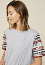 Load image into Gallery viewer, Sequin Sleeve Top