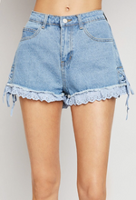 Load image into Gallery viewer, Lace Trim Denim Short
