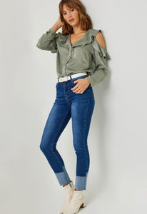 Sage Cold Shoulder Top