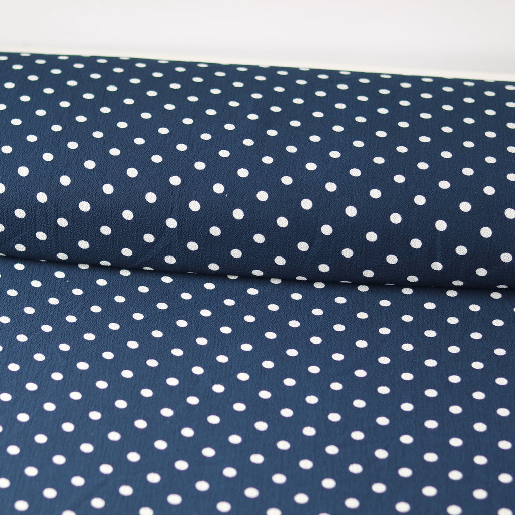 Bubble Crepe Tea Party Polka- Navy