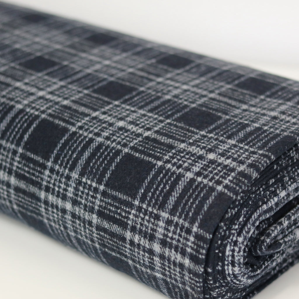Wool Blend-Navy Check