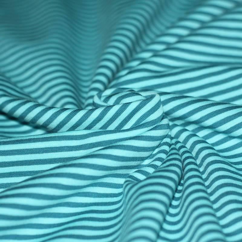 Cotton Jersey- Petrol & Turquoise Striped
