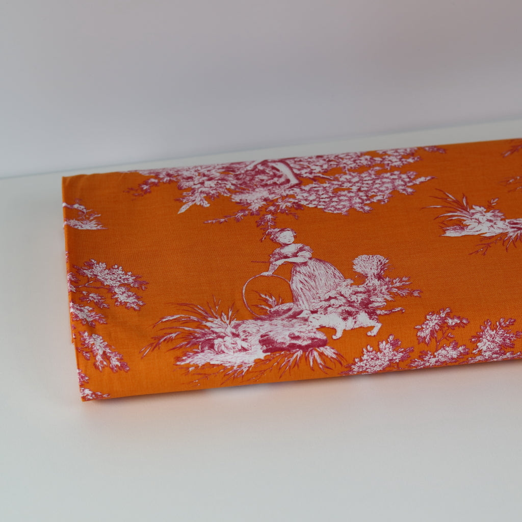 Gutermann 'Toile de Jouy' Cotton- Orange
