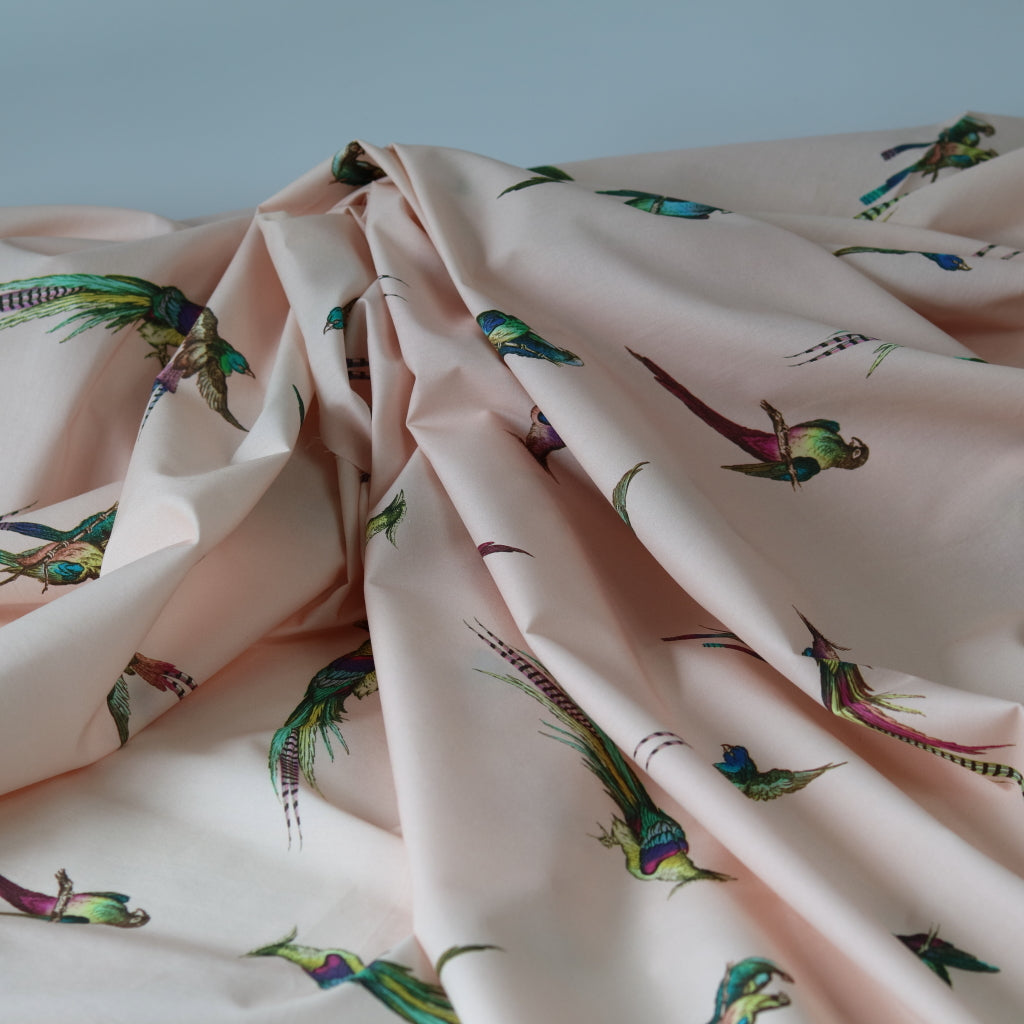 Parakeets Cotton 'Marlie' Lawn- Soft Pink