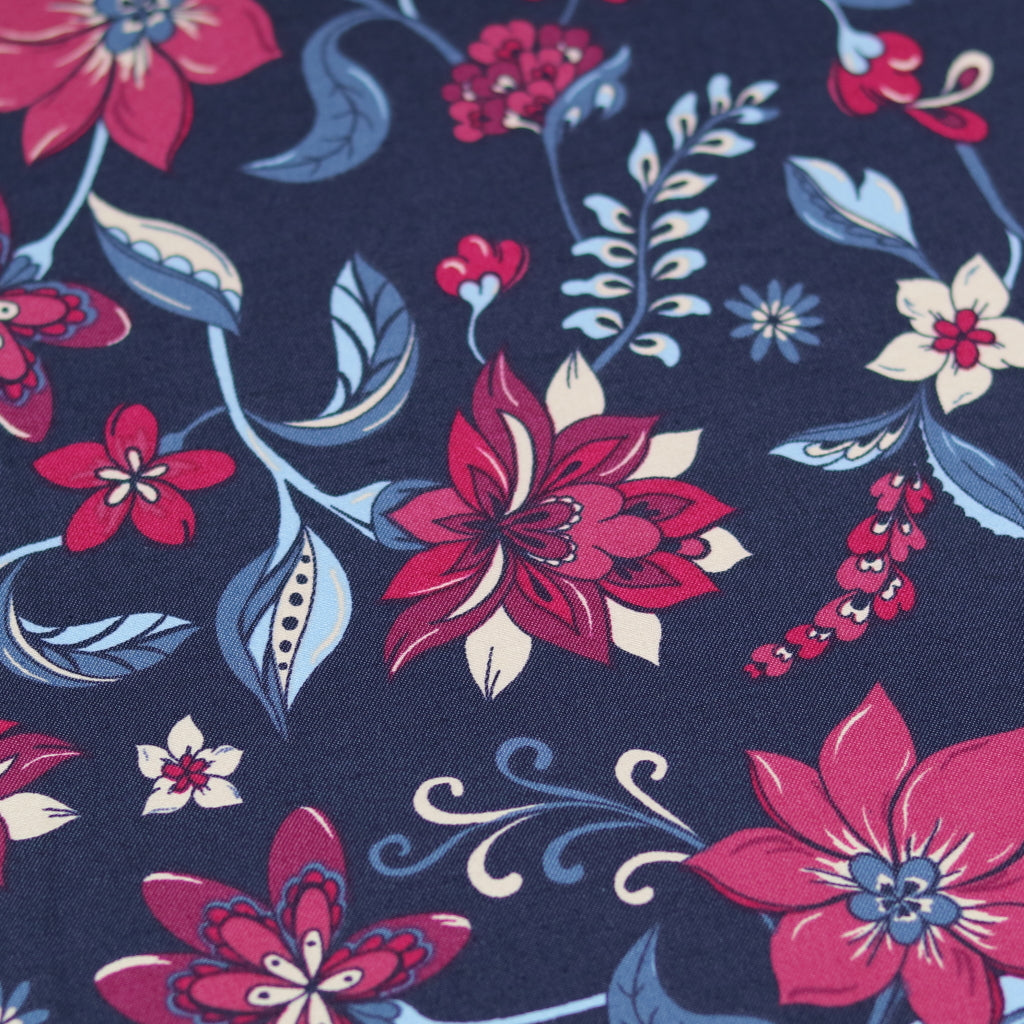 Stretch Cotton- Navy Flower