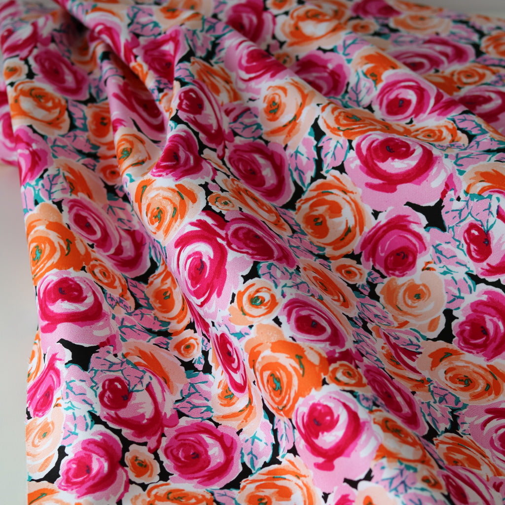 Stretch Cotton Flower Power- Pink and Tangerine