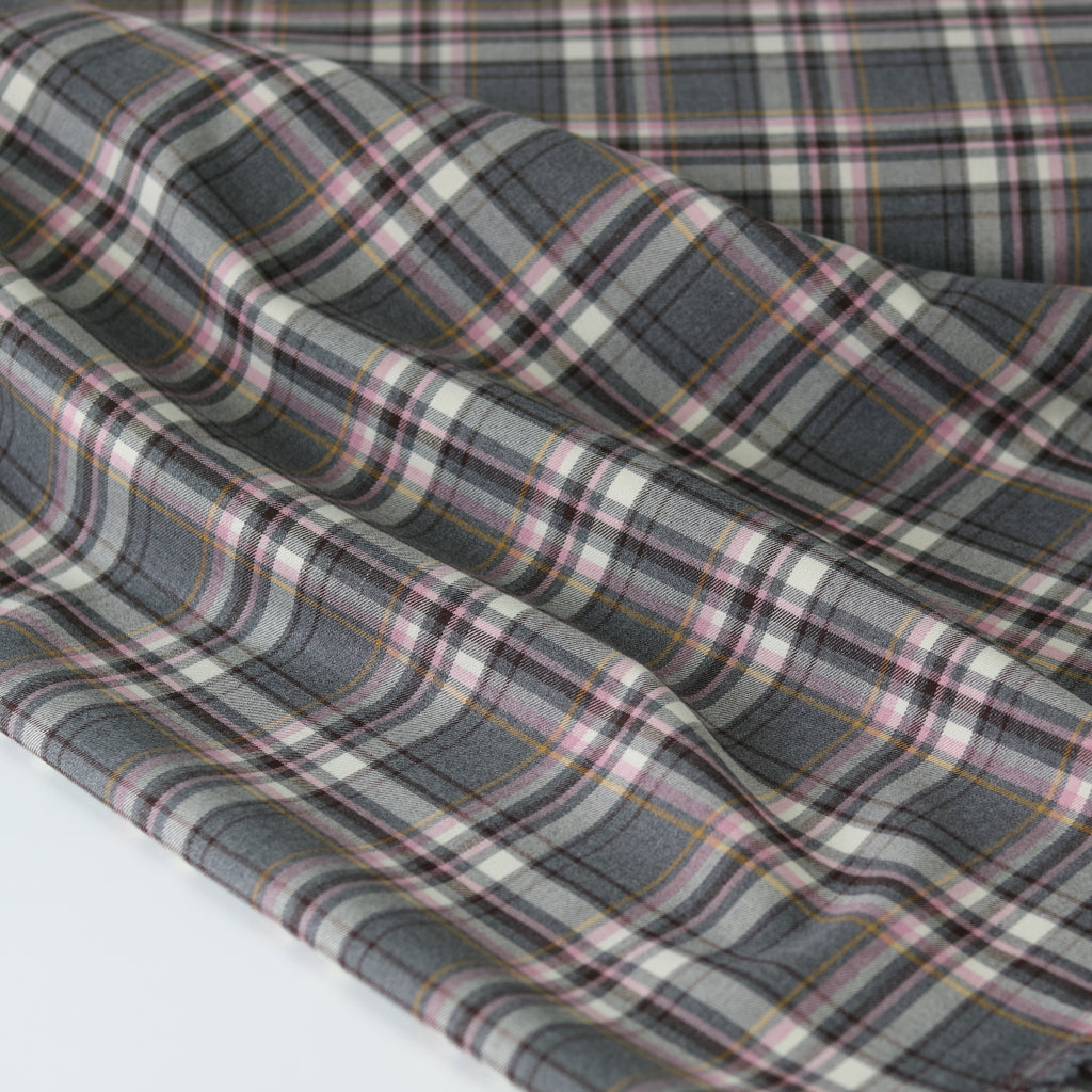 Viscose Mix Stretch- Grey/ Pink Tartan