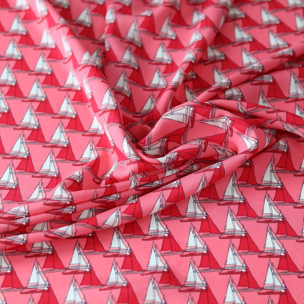 Sail Boats Viscose Challis-Red/Pink