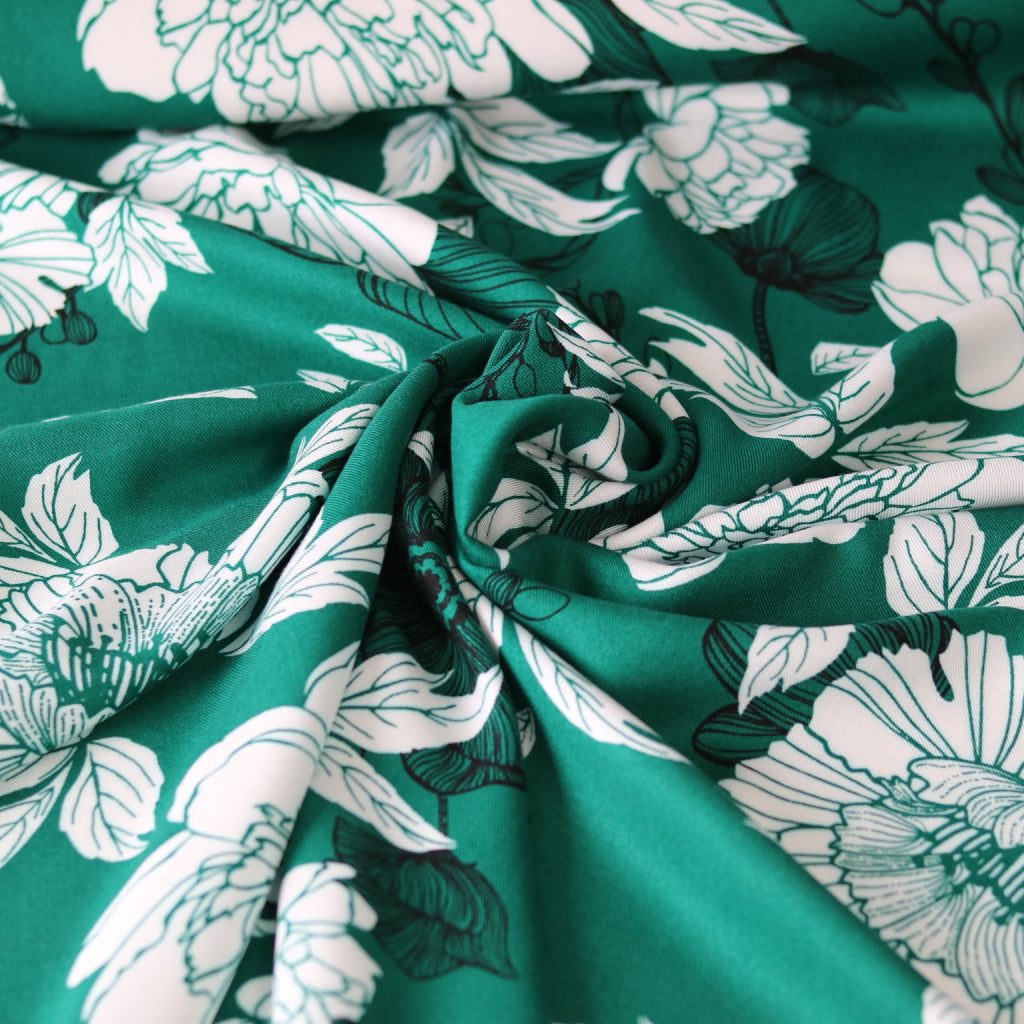 Flower Viscose-Emerald Green