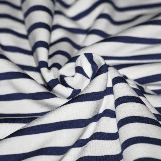 Viscose Jersey Stripes- White Navy