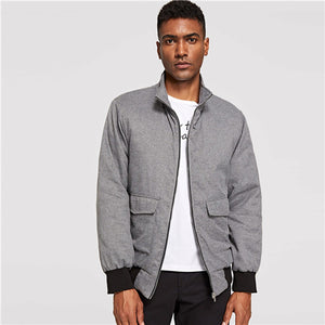 d7f69da018619 SHEIN Men Grey Flap Pocket Contrast Trim Padded Single Button Long Sleeve  Coat Autumn Minimalist Mens